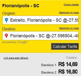 Preço de Taxi em Floripa