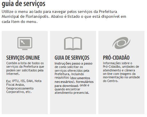 Acessar o Site da Prefeitura Municipal de Florianópolis, IPTU 2019, 2018, Serviços Online, ...