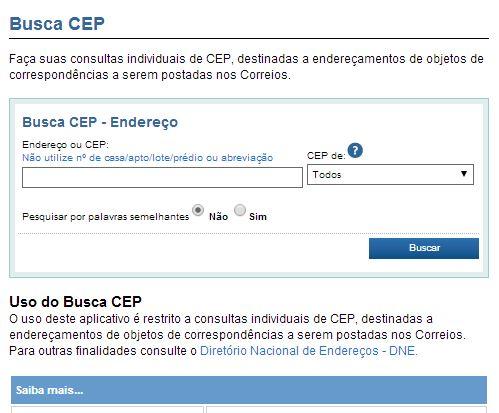 Busca CEP SC - Todas ruas e cidades de Santa Catarina e do Brasil pelos Correios